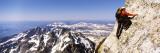 Man Climbing Up a Mountain  Grand Teton National Park  Wyoming  USA