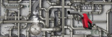 Close-up of a Gas Nozzle with Pipes on One Hundred Us Dollar Bill