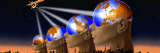 Satellite Transmission over World Cities with Four Globe Heads