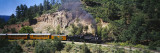 Train Moving Through San Juan Mountains  Durango and Silverton Narrow Gauge Railway  Colorado  USA