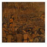 A Crowd of Workers Gather to Listen to a Worker Leading a Hopyard Strike