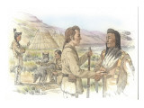 Two Corpsmen are Trading with Two Indians