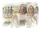 Three Indians are Seen in Close View in the Foreground