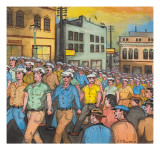 A Silent Parade of Longshoremen and Seamen Walking for the First Anniversay of `Bloody Thursday&#39;