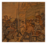Men Fighting on Skid Road in Seattle