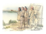 Clark with Two Indians and Two Corpsmen in Front of a Mat Lodge