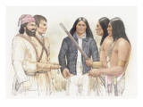 Meriwether Lewis and a Corpsmen Talking with Three Indians