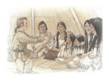 Clark and a Group of Indians Inside a Mat Lodge
