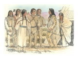 Lewis  Clark  and Sacagawea Meeting a Group of Four Indians in Front of a Mat Lodge