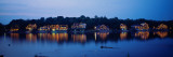 Boathouse Row Lit Up at Dusk  Philadelphia  Pennsylvania  USA
