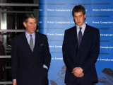 Britain's Prince Charles with his eldest son Prince William as they arrive at a function at London'