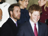 Prince William  sporting a new beard  with his brother Prince Harry as the Royal Family attend a Ch