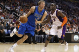 Dallas Mavericks v Phoenix Suns  Phoenix  AZ - February 17: Dirk Nowitzki and Mickael Pietrus