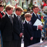 Princess Diana's Funeral coffin leaves Westminster Abbey with Prince Charles Prince Harry Prince Wi