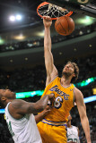Los Angeles Lakers v Boston Celtics  Boston  MA - February 10: Pau Gasol and Glen Davis