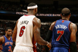 New York Knicks v Miami Heat  Miami - February 27: LeBron James and Carmelo Anthony