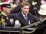 Prince Andrew and Prince William ride down the Mall towards St Paul's  2002