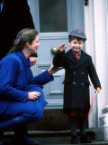 Prince William being met on his first day of school by headmistress Miss Frederika
