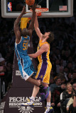 New Orleans Hornets v Los Angeles Lakers  Los Angeles  CA - January 7: Emeke Okafor and Pau Gasol