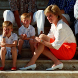 Princess Diana with sons William & Harry in Majorca in 1988 as guests of King Juan Carlos of Spain