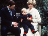 Prince Charles and Princess Diana with Prince William at Kensington Palace