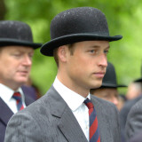 Prince William wearing regimental tie and traditional bowler hat  attends the Combined Cavalry Old