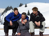 Prince Charles with his two sons Prince William and Prince Harry on the ski slopes in Klosters  Apr