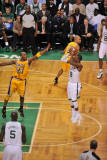 Los Angeles Lakers v Boston Celtics  Boston  MA - February 10: Rajon Rondo and Kobe Bryant
