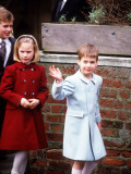 Prince William with Peter and Zara Phillips at St Georges Chapel Windsor