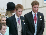 Prince Harry and Prince William after the wedding ceremony at Windsor Guildhall  for their father P