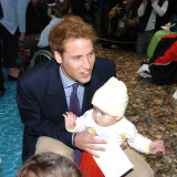 Prince William with 1 year old Kennard Nanau on a visit to the Auckland childrens Hospital  New Zea