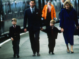 Prince Charles Prince of Wales April 1989 arriving at Aberdeen Station holding hands with Prince Wi
