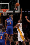 New York Knicks v Los Angeles Lakers  Los Angeles  CA - January 09: Amar'e Stoudemire and Andrew By