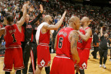 Chicago Bulls v Miami Heat  Miami  FL - March 6: Carlos Boozer  Derrick Rose  Keith Bogans and Taj