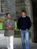 Prince William arriving at St Andrew's University With his father Prince Charles  September 2001