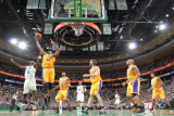 Los Angeles Lakers v Boston Celtics  Boston  MA - February 10: Andrew Bynum and Kevin Garnett
