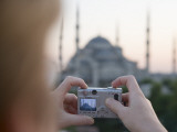 Tourist Taking Photo of Blue Mosque  Sultanahmet