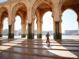 Man Walking Through Hassan Ii Mosque Complex