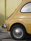 Yellow Fiat 500 Parked Against Wall  Gallipoli