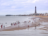Beach with Holidaymakers and Blackpool Tower in Distance