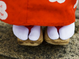 Feet and Dress of a Young Maiko (Apprentice Geisha) Girl in Shirakawa-Miname-Dori Street