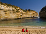 Tourists on the Beach at Loch Ard Gorge