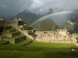 Rainbow over Incan Ruins of Machu Picchu