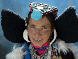 Woman Wearing Traditional Headgear (Perak) for Ladakh Festival