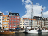 Colorful Facades and Docked Boats at Christianshavn