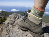 Hiker&#39;s Boot on Summit of Pico Ruivo Mountain