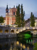 Ljubljanica River and Franciscan Church of the Annunciation at Dusk