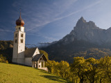 San Valentino Church  on Edge of High Plateau of Alpe Di Siusi