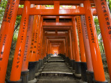 Traditional Torii with Inscriptions at Fushimi Inari Shrine