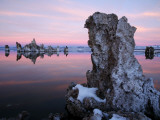 Snow-Covered Tufa Towers on Mono Lake  under Pink and Blue Dawn Sky